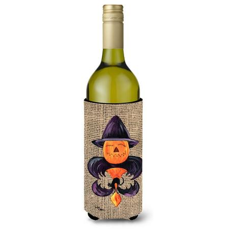 Halloween Pumpkin and Bat Fleur de lis on Faux Burlap Ultra Beverage Insulators for slim cans 8748MUK](Filmes De Halloween Tal)
