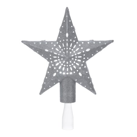 Holiday Time Silver Star Lighted Projection LED Tree Topper, 11.4
