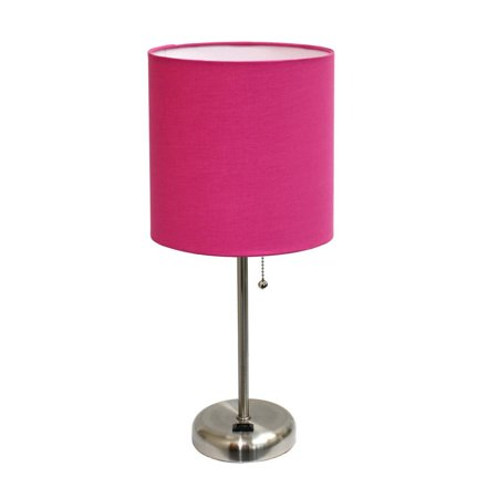 LimeLights Modern Silver Metal Stick Lamp with Outlet and Fabric Shade, Pink