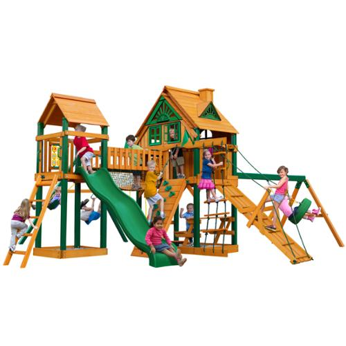 Gorilla Playsets Pioneer Peak Treehouse Swing Set with Fort Add-On and Timber Shield