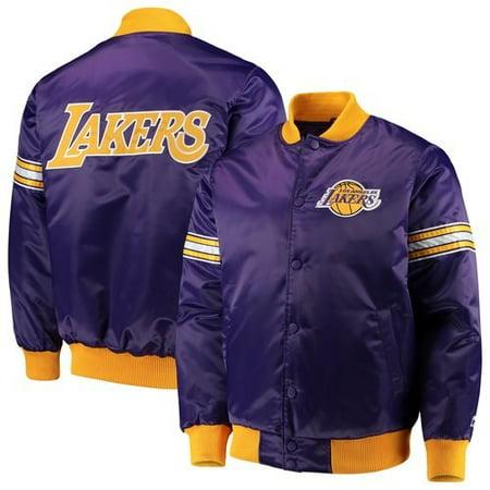 Los Angeles Lakers Starter The Draft Pick Varsity Satin Full-Snap Jacket - (Male Varsity Jacket)