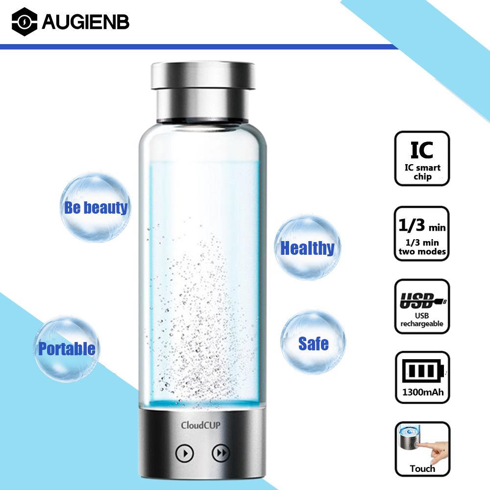Click here to buy AUGIENB Portable 450ML Hydrogen Rich Alkaline Water Ionizer Generator Maker Cup Bottle, USB Rechargeable Leak-proof....