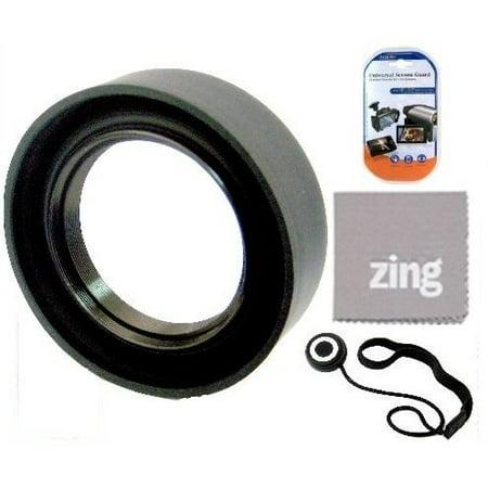 37mm Soft Rubber Lens Hood For Panasonic Lumix G X Vario PZ 14-42mm O.I.S. Lens + Cap Keeper + MicroFiber Cleaning Cloth + LCD Screen (Panasonic Lumix Gx Vario Pz 14 42mm Review)