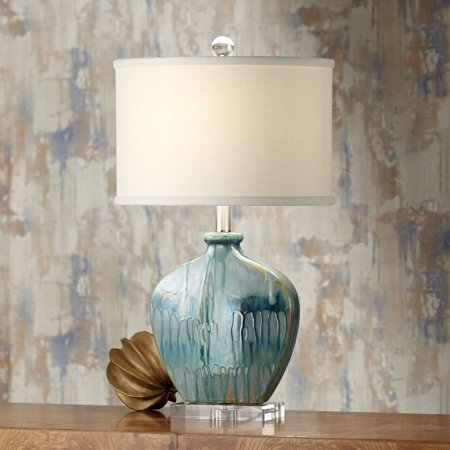 possini euro design coastal table lamp blue drip ceramic off white oval shade for living room family bedroom bedside nightstand