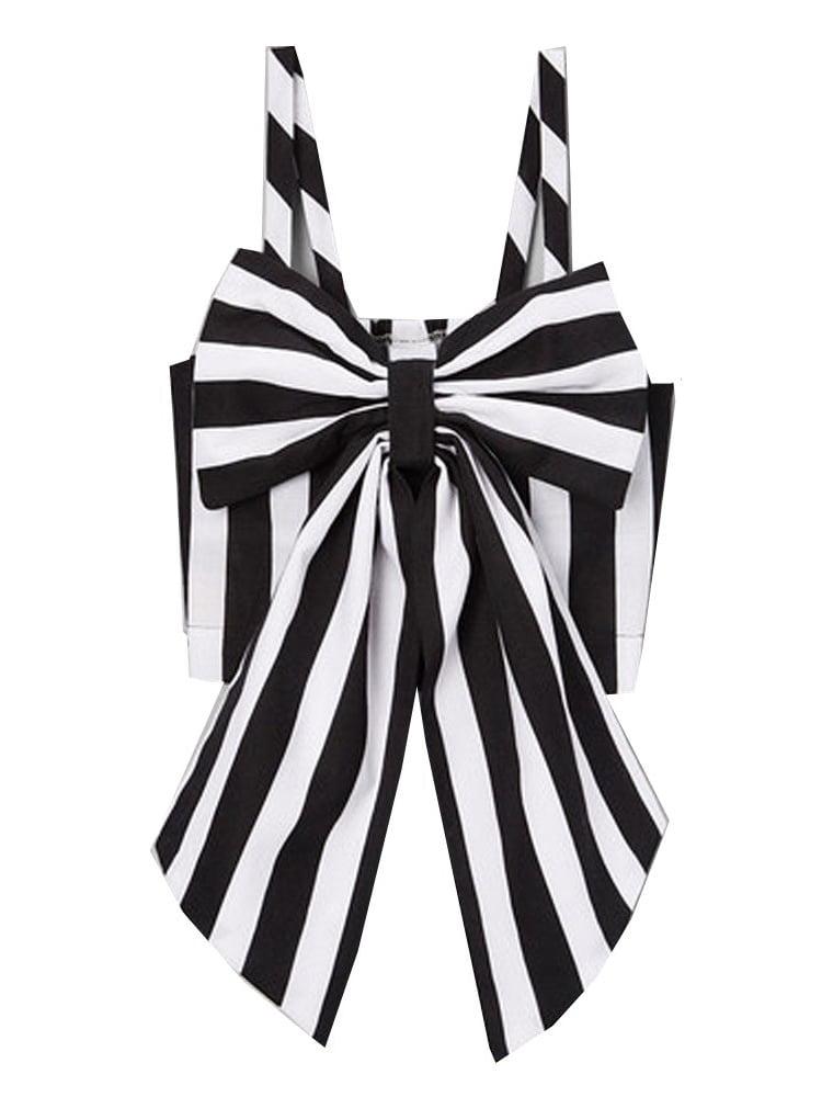 Little Girls Black White Stripe Oversized Bow Spaghetti Strap Shirt 12M-6