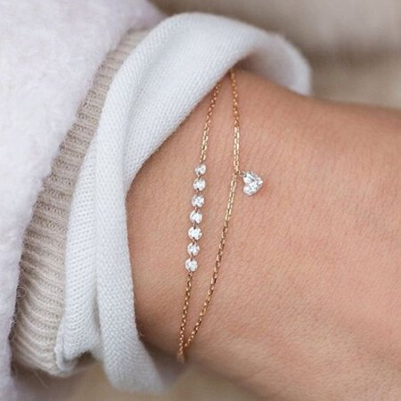 Outtop Fashion Double Layer Heart Crystal Bracelet Women Engagement Wedding Jewelry (Engagement Wedding Bracelet)