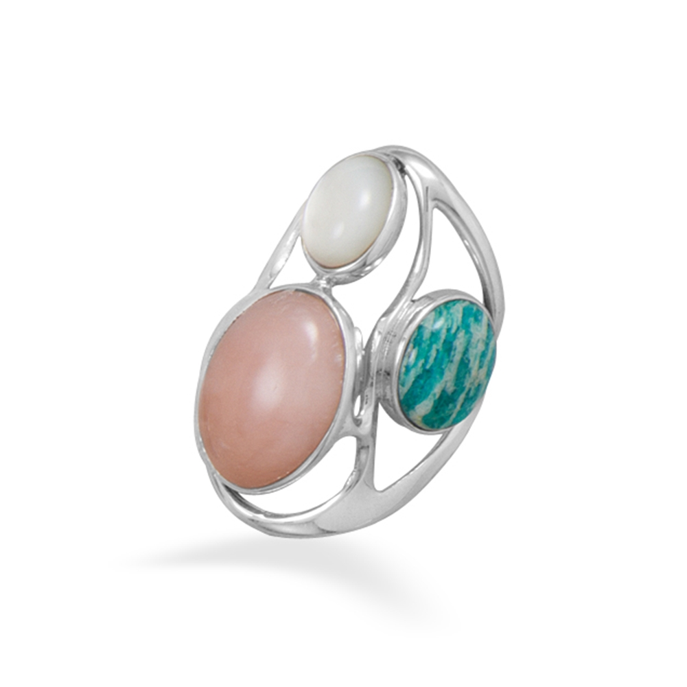 Designer Ring with Amazonite, Pink Opal, and Mother of Pearl Sterling Silver by unknown