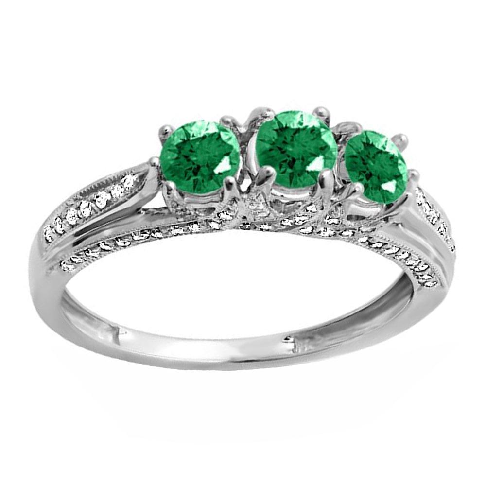 Elora 14k White Gold 1ct TW Round White Diamond and Emerald Vintage Bridal 3-stone Engagement Ring (H-I, I1-I2)