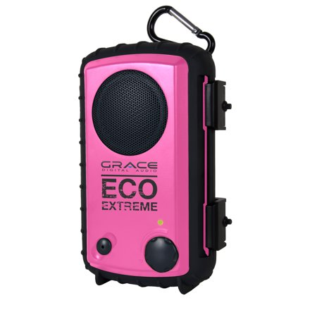 Grace Digital Audio Eco Extreme Rugged Waterproof Case With Built In Speaker For Mp3 Players And Smartphones  Pink