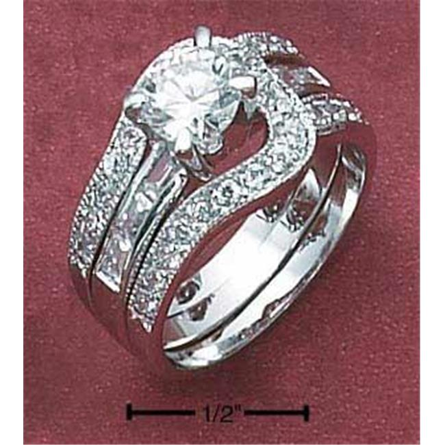 Sterling Silver Womens 2 Pc 6mm Round Cz Ring with Baguette Band & Loop Cz Band - Size 7
