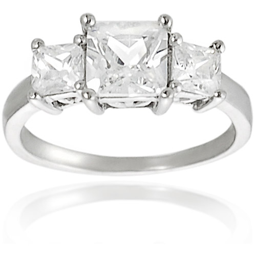 Alexandria Collection Sterling Silver Princess-Cut Cubic Zirconia Engagement Ring
