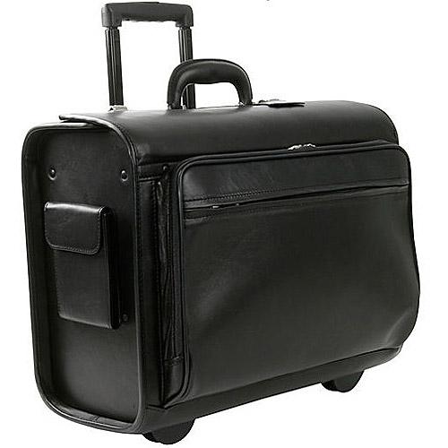 Royce Leather Rolling Laptop Briefcase, Black