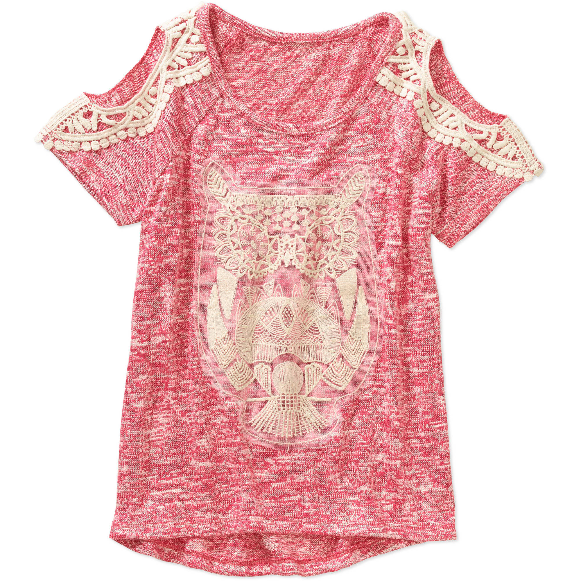 Miss Chievous Girls' Short Sleeve Cold Shoulder Crochet Owl Top