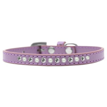 Mirage 611-04 LV-8 Pearl and Clear Crystal Lavender Puppy Collar - Size