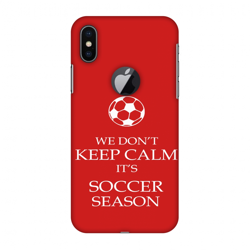 iPhone X Case - Soccer - We Don't Keep Calm - Red, Hard Plastic Back Cover, Slim Profile Cute Printed Designer Snap on Case with Screen Cleaning Kit