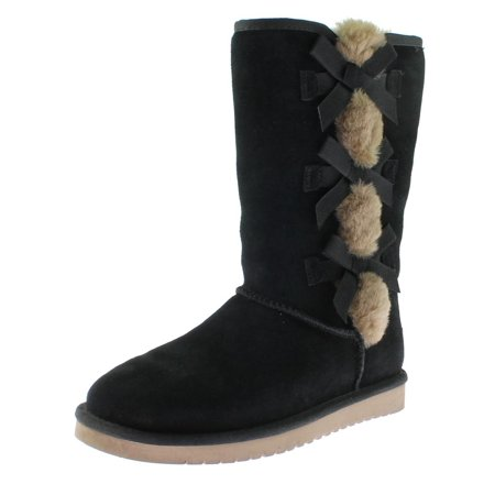 17423ced0e2 Koolaburra Womens Victoria Tall Suede Rabbit Fur Trim Casual Boots