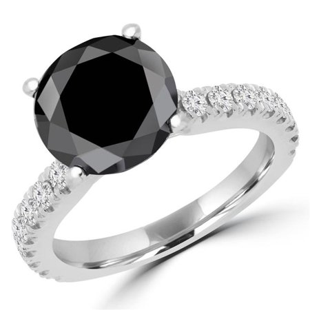 Majesty Diamonds MD170335-6 3.67 CTW Round Black Diamond Solitaire with Accents Engagement Ring in 14K White Gold, Size 6 - image 1 of 1