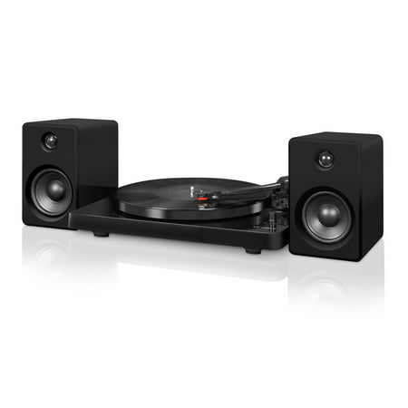 Victrola Modern Record Player with Bluetooth, 50 watt Speakers and 3 Speed Turntable, Black