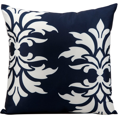 "Nourison Indoor/Outdoor Damask Decorative Throw Pillow, 20"" x 20"", Navy"