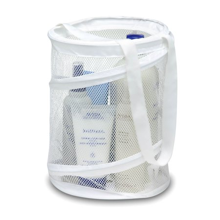 White Wood Caddy - Honey Can Do Pop-Open Mesh Shower Caddy with Handles, White