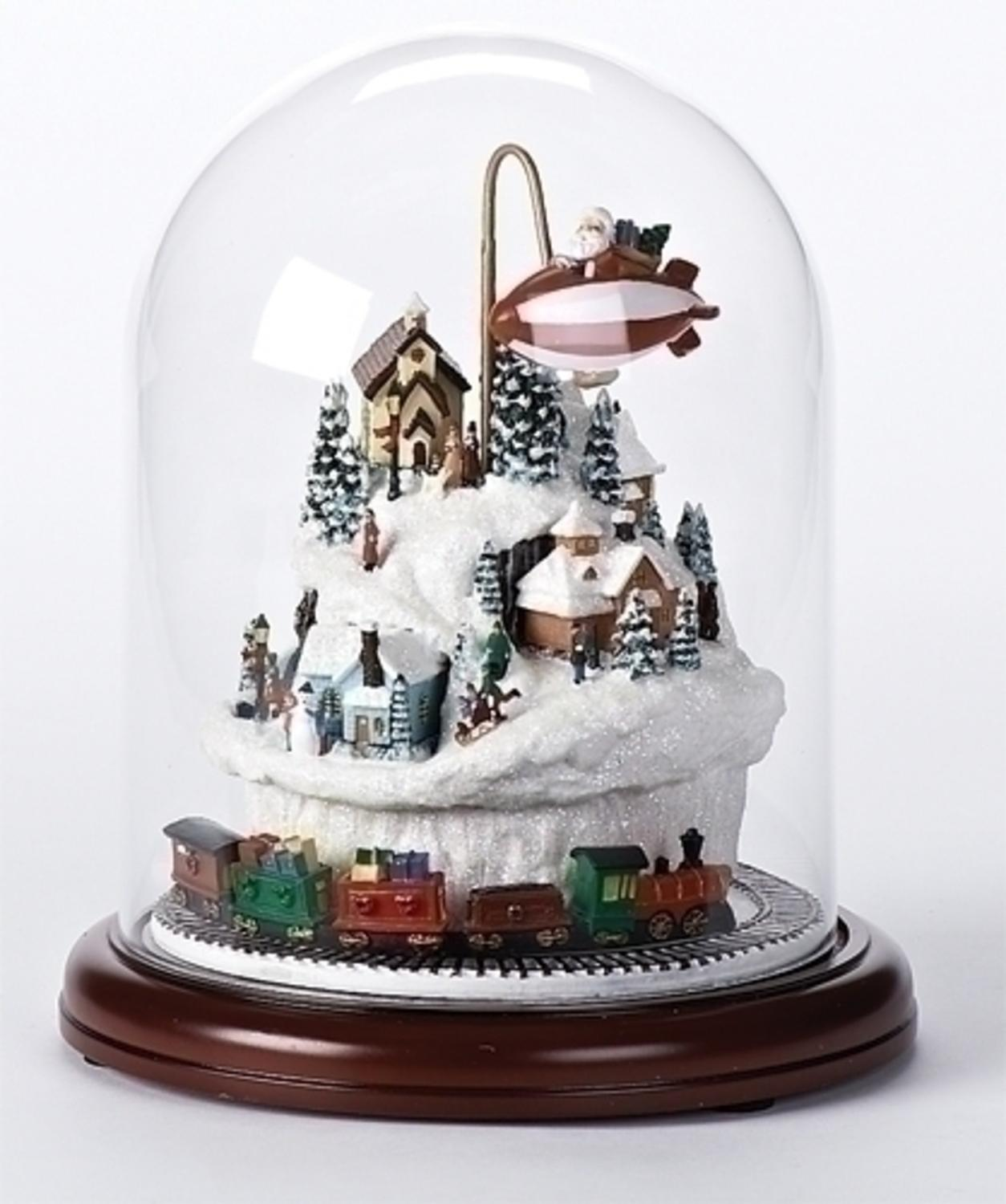 """9"""" Lighted Musical Village Scene with Rotating Train ..."""