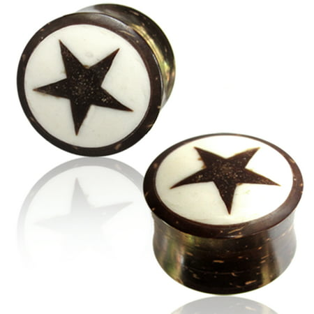 Star Saddle Plug (Organic Coconut Wood Shell Full All Star Double Flared Saddle Ear Plugs, Pair )