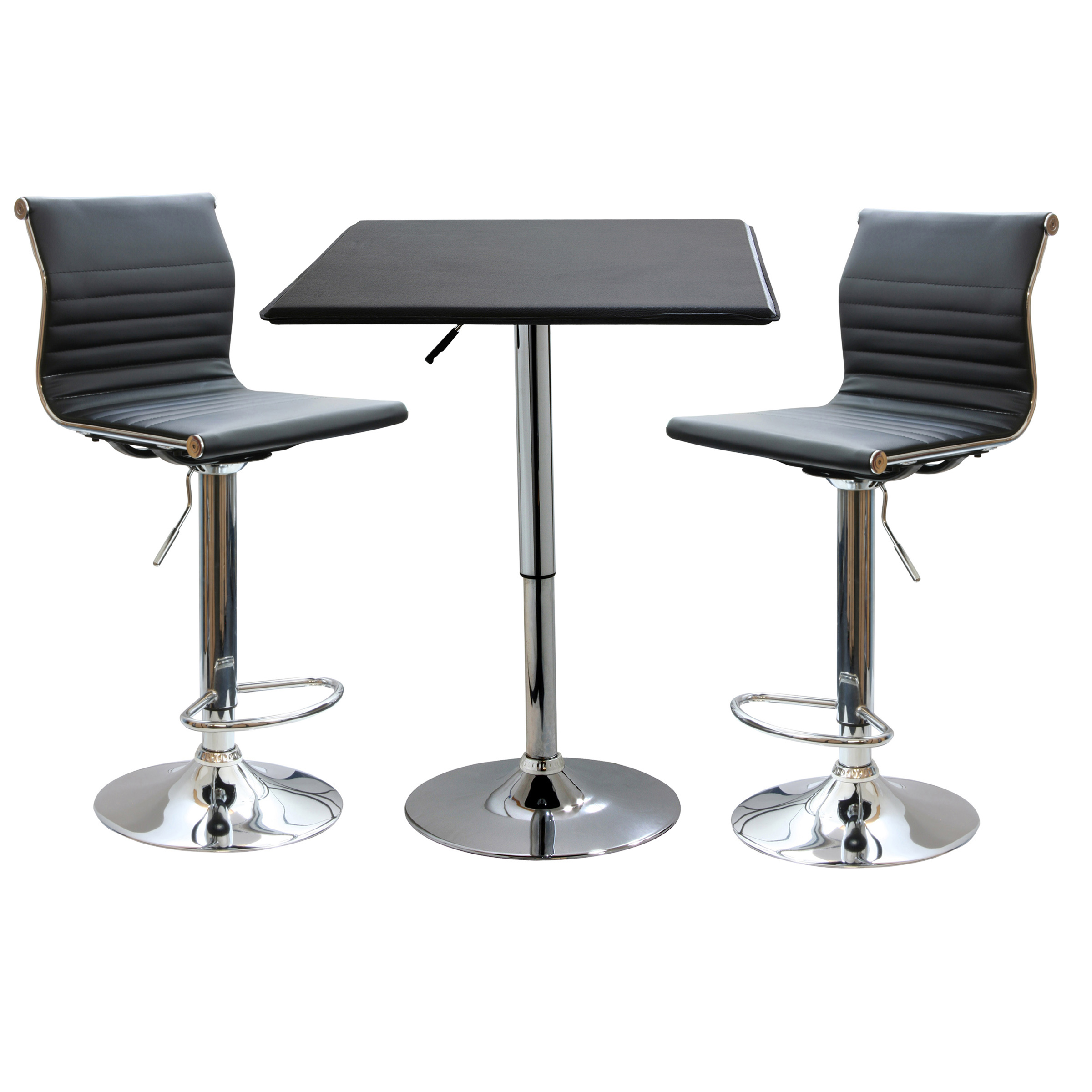 3 Piece Modern Sophisticated Black Silver Bistro Set Diner Pub Furniture