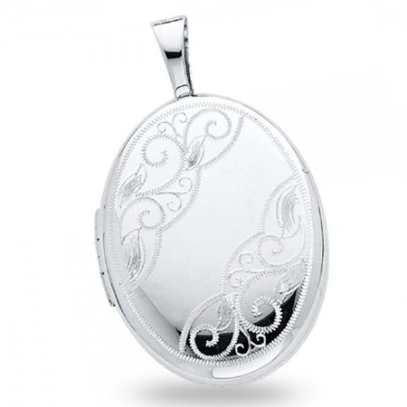 Solid 14k White Gold Oval Locket Pendant Hand Engraved Charm Holds Pictures Genuine 20 x 15 mm (Gold Picture Locket)