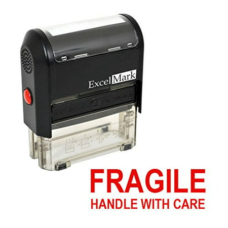 FRAGILE HANDLE WITH CARE Self Inking Rubber Stamp - Red Ink (42A1539WEB-R)