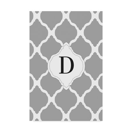 Trademark Fine Art 'D Gray Monogram' Canvas Art by Art Licensing Studio - Monogram Canvas