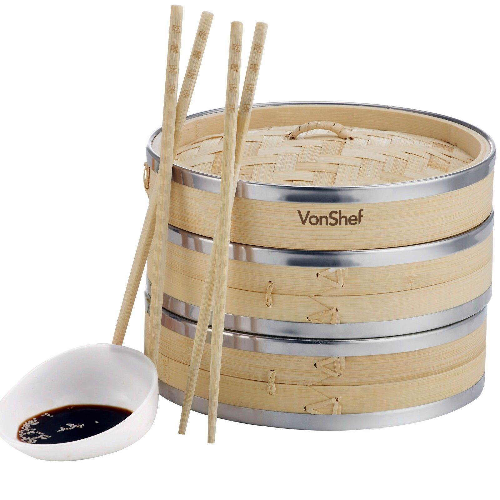 Moaere Natural Bamboo Steamer Basket Premium 2 Tier Food Cooker with Stainless Steel Banding for Steaming Dim Sum Dumplings Buns