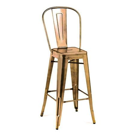 Dreux Vintage Copper High Back Steel Barstool 30 Inch Set Of 4