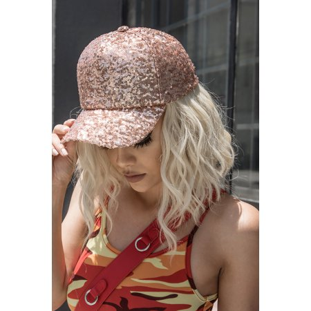 Womens Utterly covered with shimmering sequins Mudd Baseball Cap LH3323-Rose Gold (Sequin Baseball Cap)
