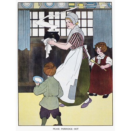 Mother Goose 1916 NPease Porridge Hot Illustration By Blanche Fisher Wright For A 1916 Edition Of The Real Mother Goose Nursery Rhymes Rolled Canvas Art -  (18 x