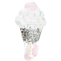Cupcake Pull String Pinata for Girl Baby Shower, Gender Reveal, Kids Birthday Party Supplies, Small 17 x 13 inches