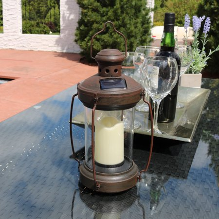 Sunnydaze Outdoor Antique Hanging Solar Lantern with LED Light and Candle, 12-Inch ()