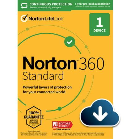 Norton 360 Standard + Antivirus, 1 Device, 1 Year with Auto Renewal, PC/Mac Download