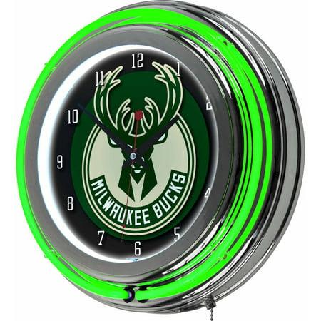 "Milwaukee Bucks NBA 14"" Neon Wall Clock by"