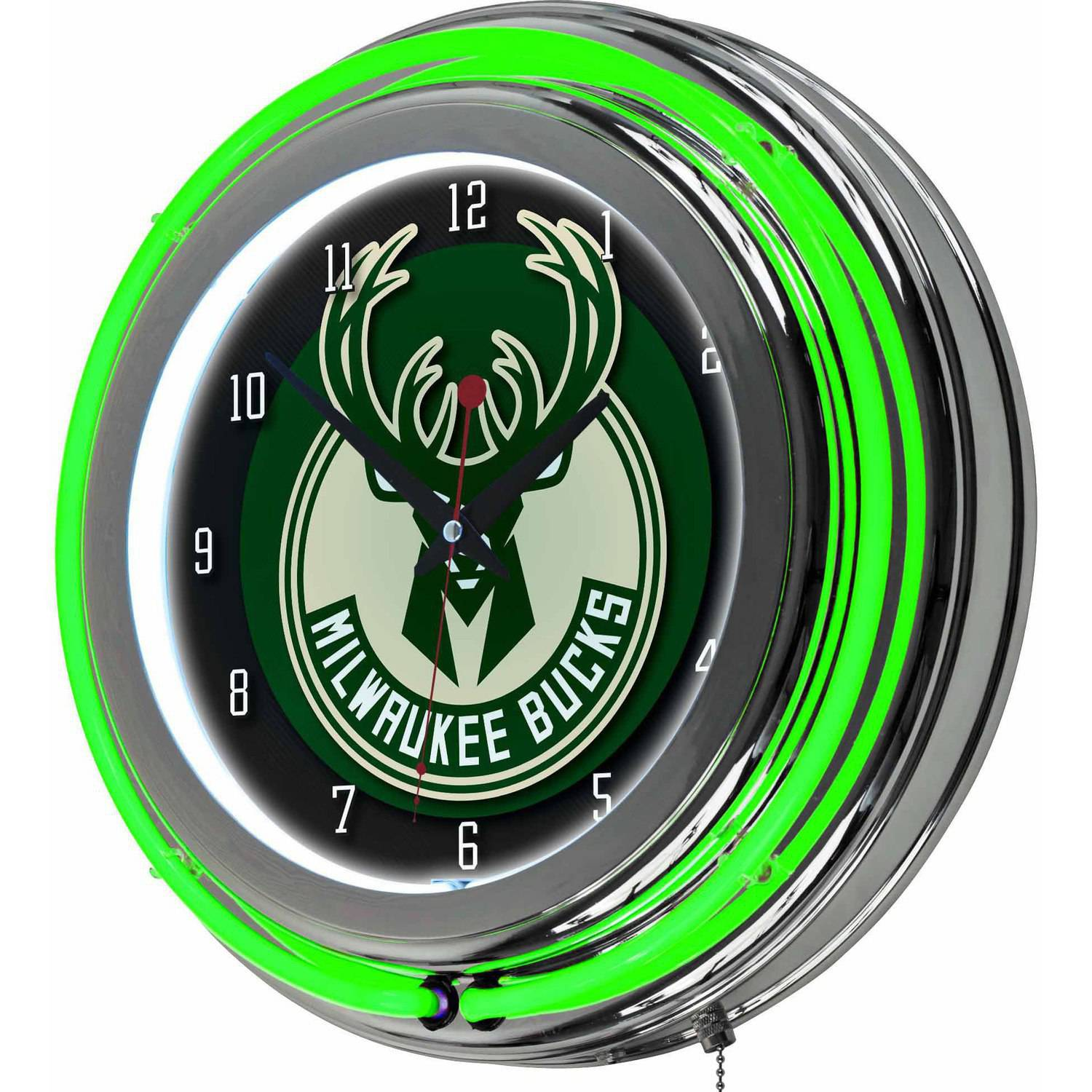 "Milwaukee Bucks NBA 14"" Neon Wall Clock"