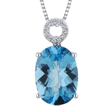 Peora 6.00 Carat T.G.W. Oval Checkerboard Cut Swiss Blue Topaz Rhodium over Sterling Silver Pendant, 18