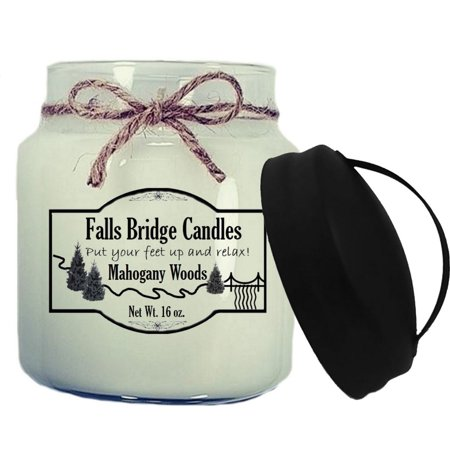 Mahogany Woods Scented Jar Candle, 16-Ounce, w/Handle Lid - Falls Bridge Candles ()