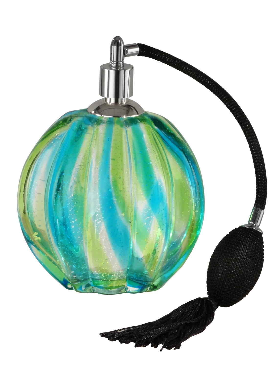 "6.25"" Blue and Green Decorative Art Glass Perfume Bottle by Diva At Home"