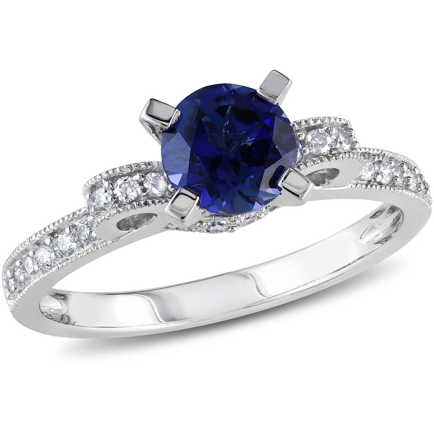 1 Carat T.G.W. Created Blue Sapphire and 1 4 Carat T.W. Diamond 10kt White Gold Engagement Ring by Delmar Manufacturing LLC