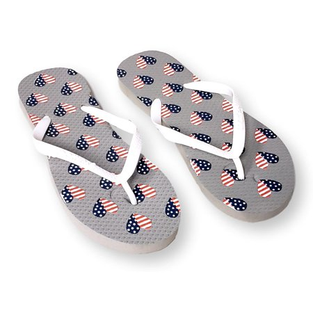 84c905104deac Womens Patriotic Prints with Stars and American Flag Flip Flops Sandals