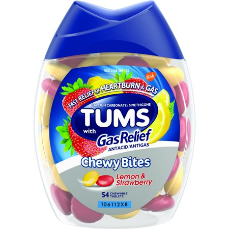 TUMS Chewy Bites Antacid with Gas Relief, Melon-Berry Hard Shell Chews for Heartburn + Gas Relief, 54 Antacid (Best Meds For Gas)