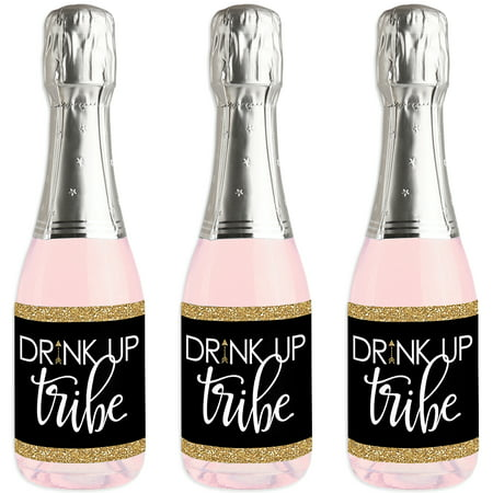 Bride Tribe - Mini Wine and Champagne Bottle Label Stickers - Bridal Shower or Bachelorette Party Favor Gift for - Champagne Bottle Labels