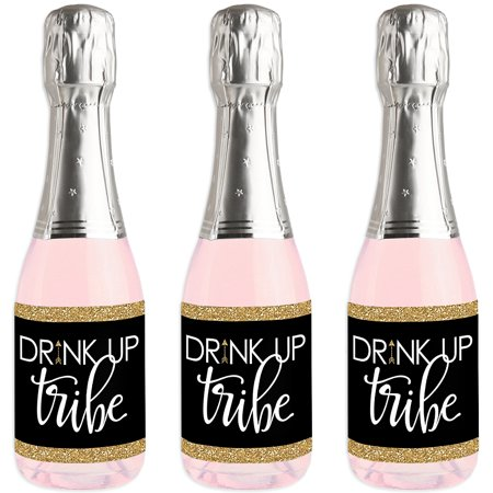 Bride Tribe - Mini Wine and Champagne Bottle Label Stickers - Bridal Shower or Bachelorette Party Favor Gift for Women - Wine Party Favors