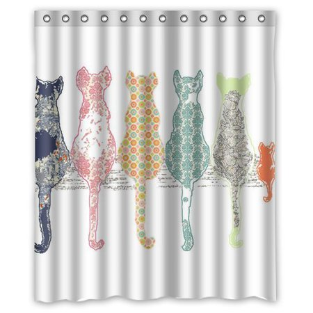 GreenDecor Colourful Creative Cared Cats Back Waterproof Shower Curtain Set with Hooks Bathroom Accessories Size 60x72 inches