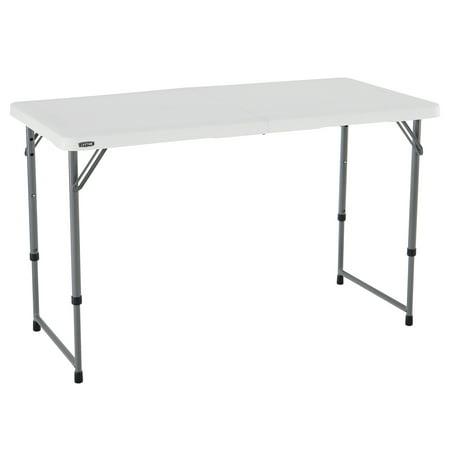 (2-Pack) Lifetime 4 Ft Fold-In-Half Adjustable Table White Granite ()