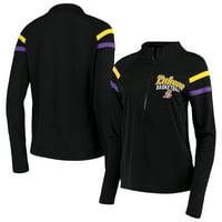 Los Angeles Lakers 5th & Ocean by New Era Women's Pullover Half-Zip Thumb Holes Jacket - Black